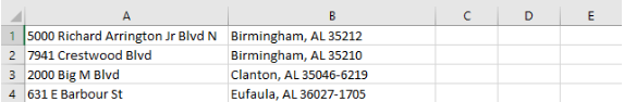 Two Column Address File Example