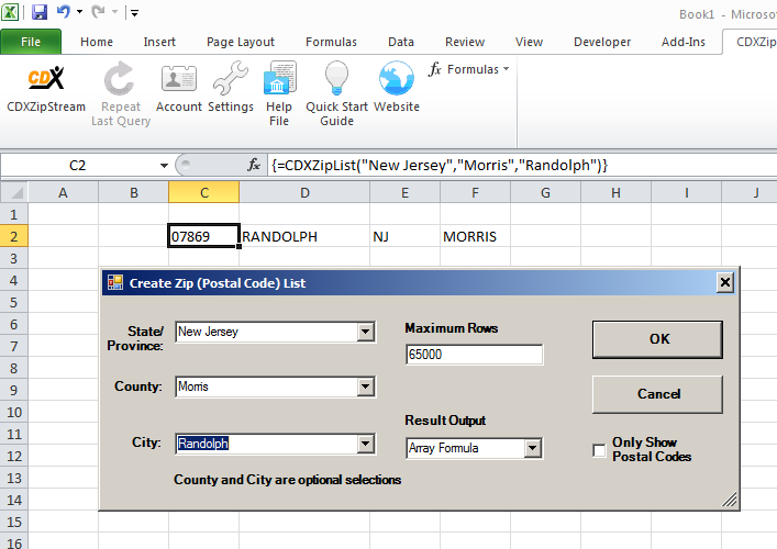 CDXZipStream Zip List Dialog data entry